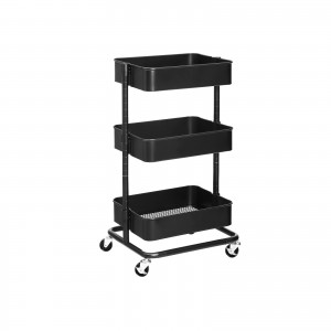 3-Tier Metal Rolling Cart