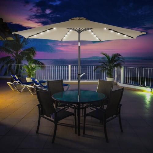 Songmics 9 Ft Solar Patio Umbrella Lighted Outdoor