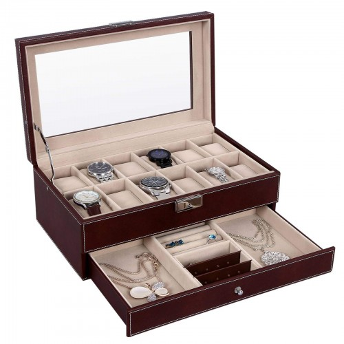 Brown Lockable Watch Box