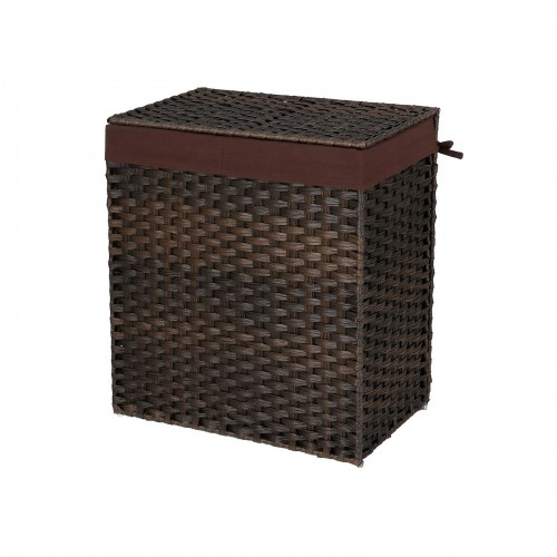 Brown Handwoven  Double Laundry Hamper