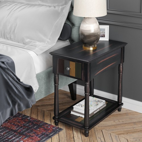 Vasagle Narrow End Table With Drawer 3 Tier Nightstand
