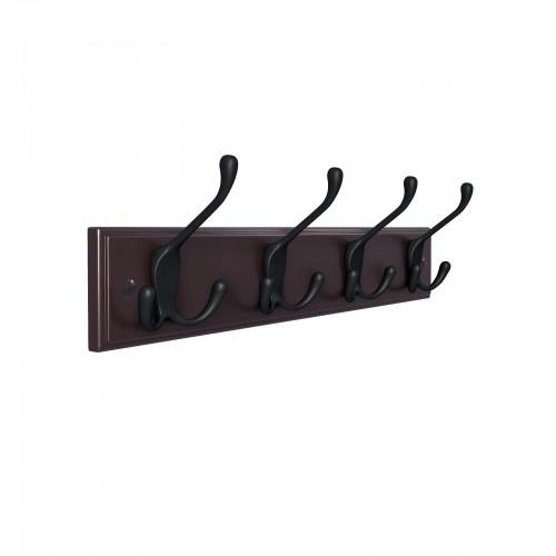 Wall Mount Coat Rack Hooks Hanger Black Heavy Duty Hat Clothes Holder Metal Rail 6 Tri Hanger for Entryway Bathroom Closet Room