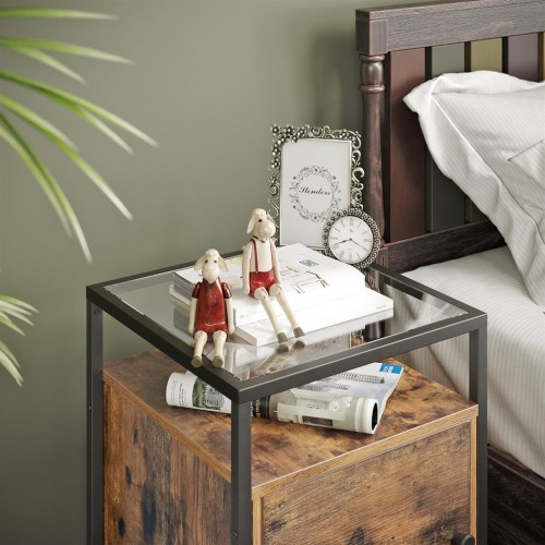 Glass Nightstand with Cabinet