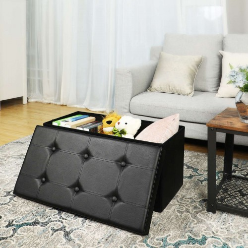 Faux Leather Ottoman Bench