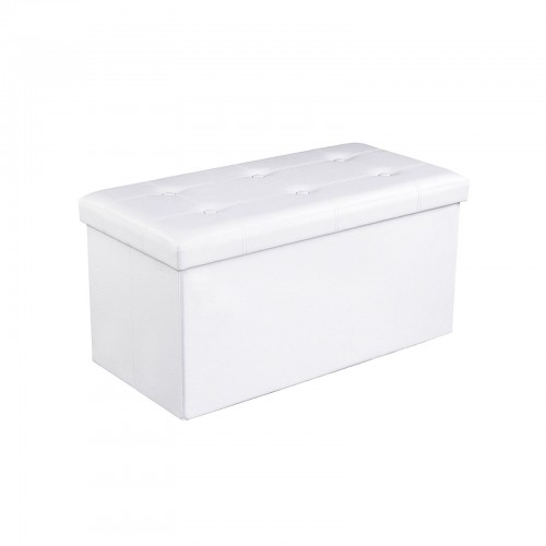 White Tufted Storage Ottoman