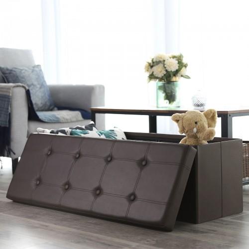 Miraculous Brown Storage Ottoman Bench Machost Co Dining Chair Design Ideas Machostcouk
