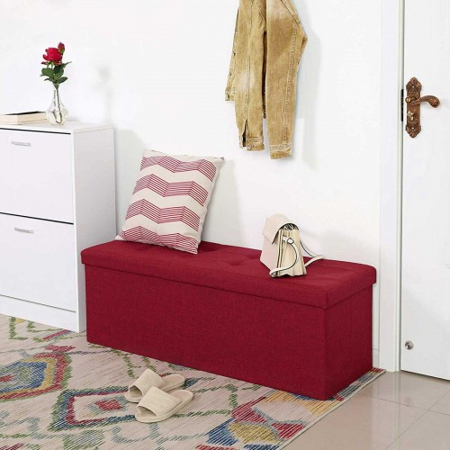 Songmics Storage Ottoman Bench Chest With Lid Padded And