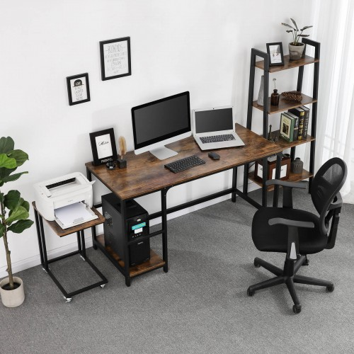 Side Shelf Computer Desk