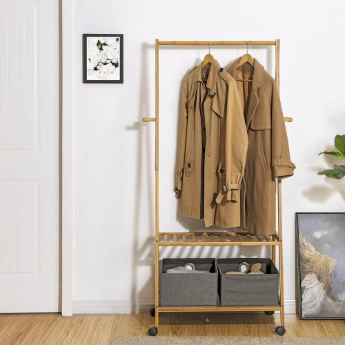 Bamboo Rolling Coat Rack