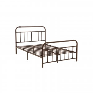 Vintage Metal Bed Frame with Headboard and Footboard