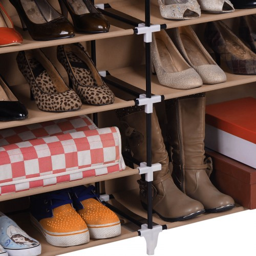 Mocha Fabric Shoe Rack