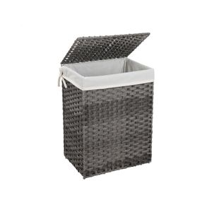 Gray Handwoven Laundry Basket