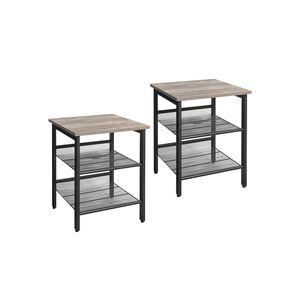 Set of 2 Greige Side Tables with Adjustable Shelves
