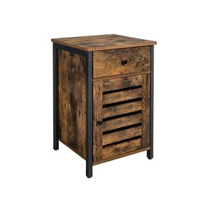 Industrial Bedside Table with Cabinet & Drawer
