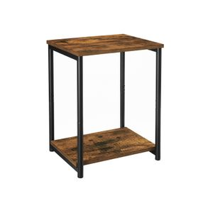 Industrial Brown 2-Tier Small Side Table