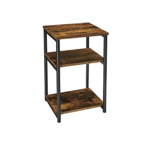 Rustic Brown & Black 3-Tier Slim Tall Side Table