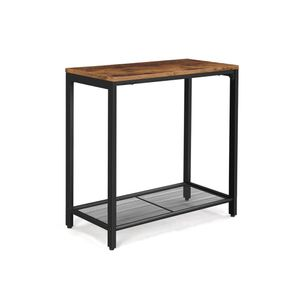 Industrial Brown Side Table with Mesh Shelf