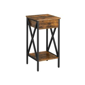 Industrial Brown Tall Nightstand with Drawer
