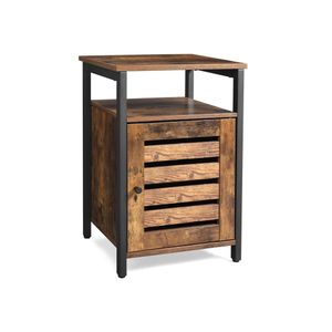 Industrial Rustic Brown End Table with Cabinet