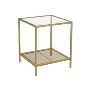 Glass Side Table Gold Metal Frame