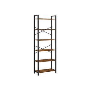 Industrial 6-Tier Bookshelf with Steel Frame