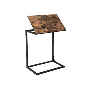 Industrial C-shaped Side Table with Adjustable Top
