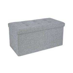 Linen Fabric Storage Ottoman