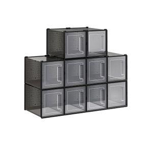 Pack of 10 Black Plastic Shoe Boxes