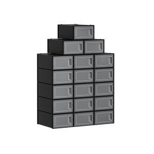 Set of 18 Black Shoe Storage Boxes
