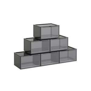 Pack of 6 Gray Shoe Organizer Boxes