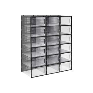 Pack of 18 Black Shoe Storage Boxes