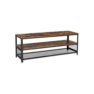 Industrial Brown TV Bench with 2 Shelves