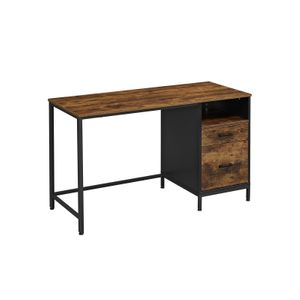 Industrial Brown Computer Desk with File Cabinet