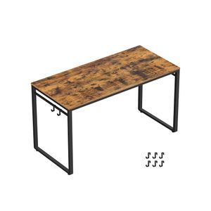 Industrial Brown Home Office Desk with Hooks