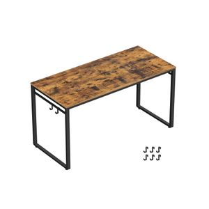 Industrial Brown Office Computer Desk with Hooks