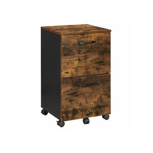 Industrial Brown 2 Drawer File Cabinet on Wheels
