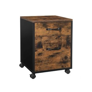 Industrial Brown File Cabinet with 2 Drawers