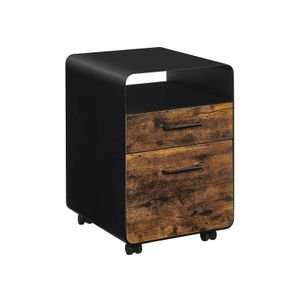 Black & Rustic Brown File Cabinet with 2 Drawers