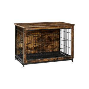 Brown & Black Wooden Dog Crate with 2 Doors