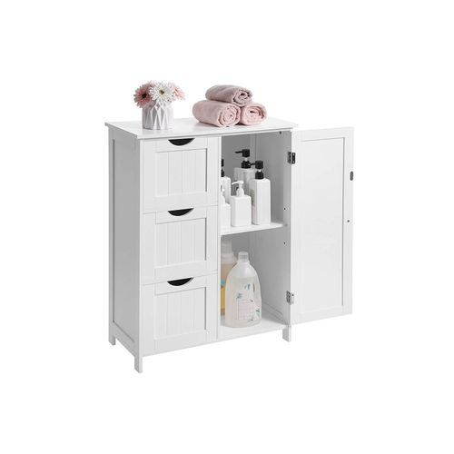 White Bathroom Cabinet With 3 Drawers Bathroom Furniture Vasagle By Songmics
