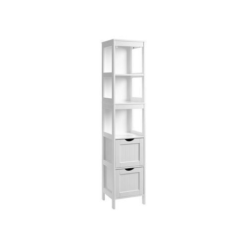White Linen Tower with 2 Drawers for Bathroom