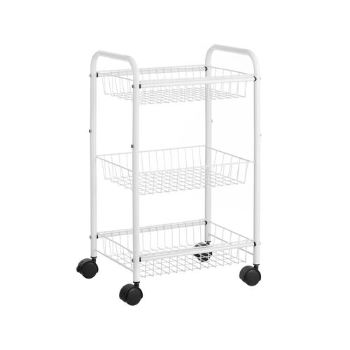White Metal Storage Cart with Removable Baskets