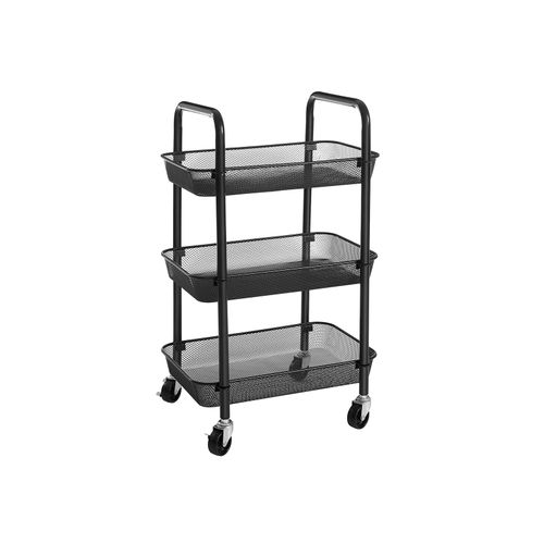 3-Tier Metal Storage Cart Black