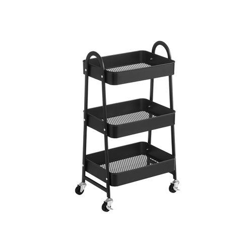 3-Tier Rolling Cart Black