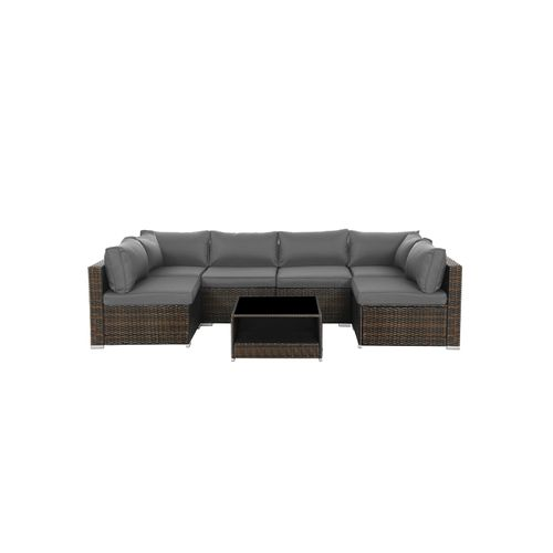 7-Piece Patio Furniture Set Brown and Gray