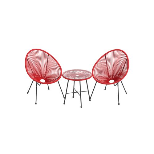 Red 3-Piece Outdoor Acapulco Chair