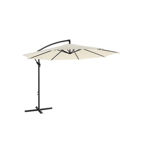 Standing Offset Patio Umbrella with Base Beige