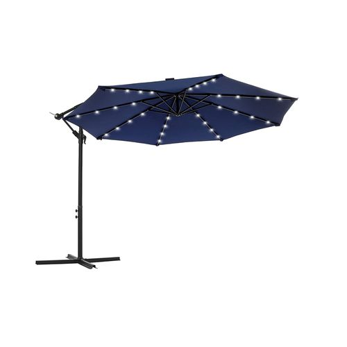 Outdoor Umbrella with Solar-Powered LED Lights