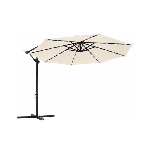 Outdoor Umbrella with Solar-Powered LED Lights Beige