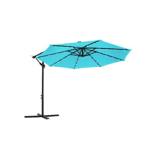 Outdoor Umbrella with Solar-Powered LED Lights Lake Blue